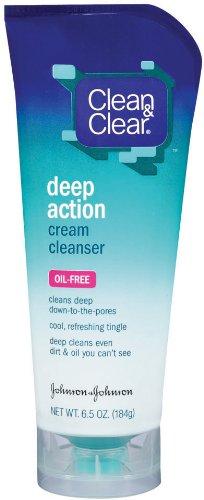 Clean & Clear Nettoyant sans Huile de Deep Crème d'action, 6,5 onces Tubes (Pack de 2)
