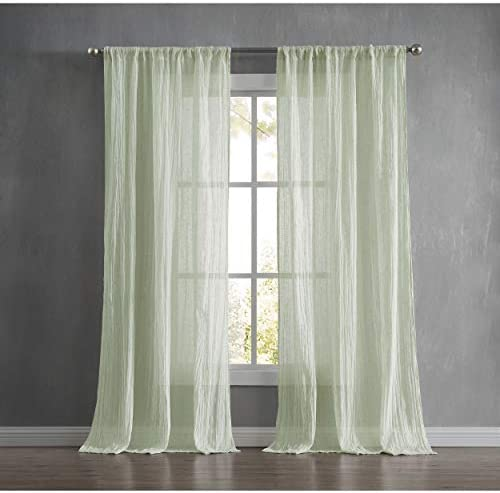 French Connection Charter Crushed Window Curtain, 100 in. x 96 in. 2-Piece Set, Seafoam