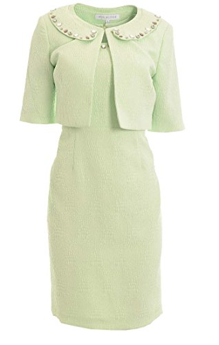 Nipon Boutique Women's Jeweled Neck Jacket Dress Seafoam - Cropped Textured Dress Jacket
