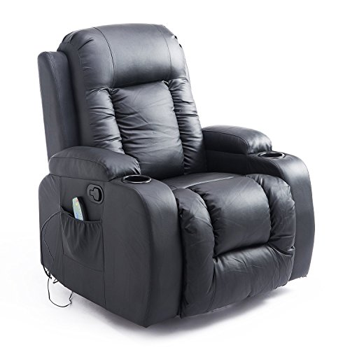 HOMCOM Massage Recliner Chair Heated Vibrating PU Leather Ergonomic Lounge 360 Degree Swivel with Remote – Black