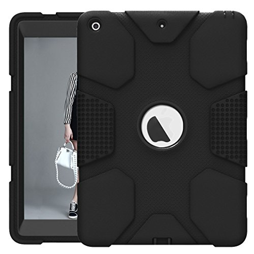 Hocase iPad 9.7 2018/2017 Case Rugged Heavy Duty High-Impact Shockproof Hard Rubber Protective Case for Apple iPad 5th/6th Generation A1822/A1823/A1893/A1954 - Black