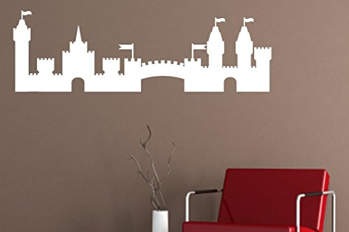 Vinyl Say Castle Silhouette Wall Decal, 55 by 17.5-Inch, Matte White