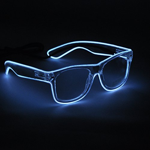 [SYDT LED Rave Sunglasses White Frame EL Wire Colorful Flashing Light up Glasses for Festivals DJ Bright Light Holiday Gift(White) by] (5 Last Minute Halloween Costumes)