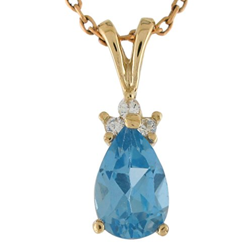 Jewelry Liquidation 14k Yellow Gold Diamond and Blue Topaz Ladies Pear Shaped Pendant (Topaz Shaped Pear)
