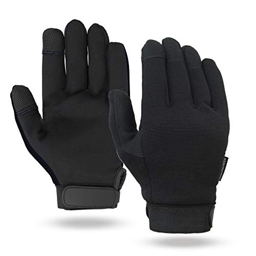 - Illinois Glove Company 76MB Touchscreen Mechanics Gloves, Synthetic Suede Palm, Spandex Back, M, Black, Unlined