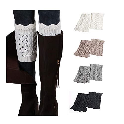 Bestjybt Womens Short Boots Socks Crochet Knitted Boot Cuffs Toppers Leg Warmers Socks (4 Pairs-Style 09)
