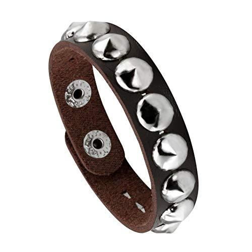 MILAKOO Punk Mens Leather Bracelet Wide Snap Button Wrap Bracelets Wristband for Kids, Boys, Women (Best Female Punk Bands)