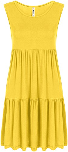 Yellow Sleeveless Summer Sundress For Women reg and Plus Size Casual T Shirt Layered Dress