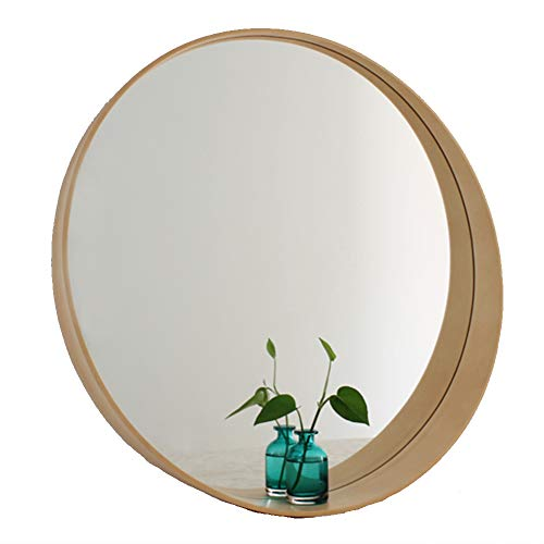 YANZHEN Mirror with Shelf Wall Mount Nordic Bathroom Waterproof Solid Wood Circular Dressing Mirror Basswood, 4 Colors 3 Sizes (Color : Log Color, Size : 50cm)