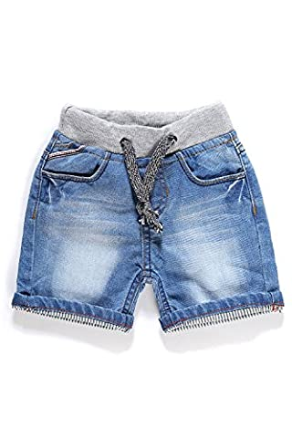 Little-Guest Baby Boys' Clothes Blue Knee-Length Jeans Shorts B201 (9-12 Months, Cyan Blue) - Blue Patchwork Shorts