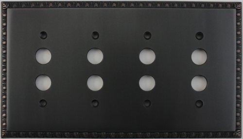 Egg & Dart Oil Rubbed Bronze 4 Gang Push Button Light Switch Plate