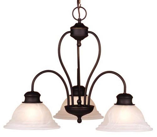 Vaxcel USA CH6535OBB Babylon 3 Light Modern Chandelier Lighting Fixture in Bronze, Glass