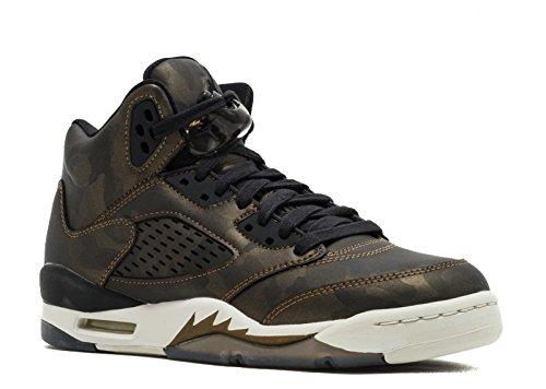 Nike Air Jordan 5 Retro PREM HC Big Kid's Basketball Shoes Black/Light Bone, 8.5 by Jordan