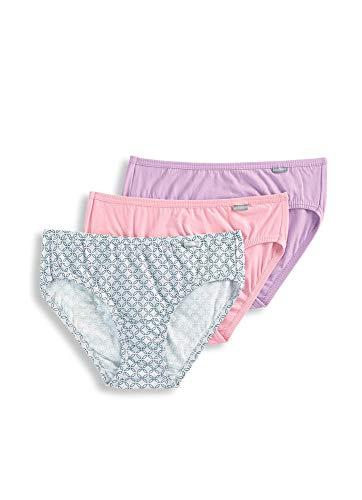 Jockey Women's Underwear Elance Hipster - 3 Pack, Pink Tulle/Bella Tile/Cotton Plum, 5 -