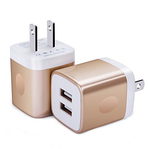 Wall Charger, FiveBox 2-Pack Dual Port USB Wall Charger Brick Plug Charger Box Charging Base 2.1A Charging Block Phone Charger Cube for iPhone X/8/6/6s/7 Plus, iPad, Samsung S8 S7 S6, Android, LG, ZTE