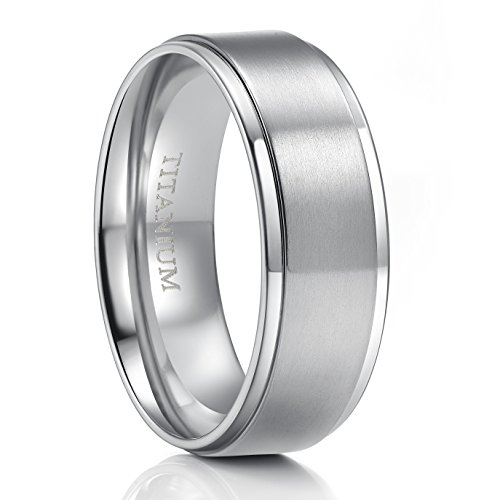 6mm/8mm Titanium Ring Brushed Silver Wedding Band Comfort Fit Brushed Silver Step