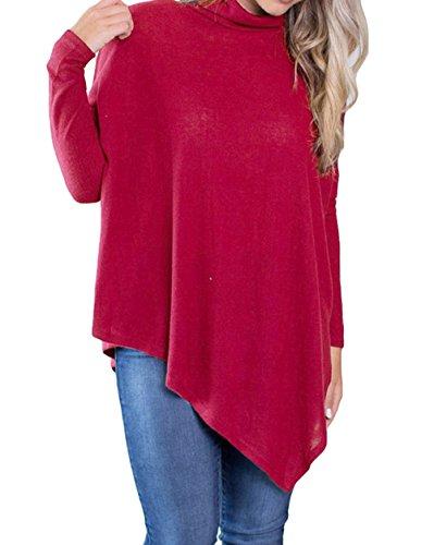Long Irregulier Sweater Pull Casual Blouse Chandail Femmes Blouses Longues et Mode Tunique Couleur Manches Hauts Unie Col Pullover Printemps Roul Rouge Jumper Automne Tops Pulls UE7qwfw