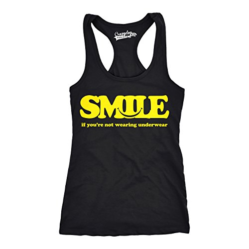 Crazy Dog TShirts - Womens Smile Not Wearing Underwear Funny Workout Sleeveless Fitness Tank Top - Camiseta Para Mujer