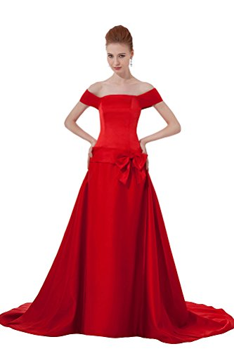 Train Short Sleeve Satin (DBBRIDL Red Short Sleeve Ball Gown Mermaid Court Train Satin Evening Dress 26W)