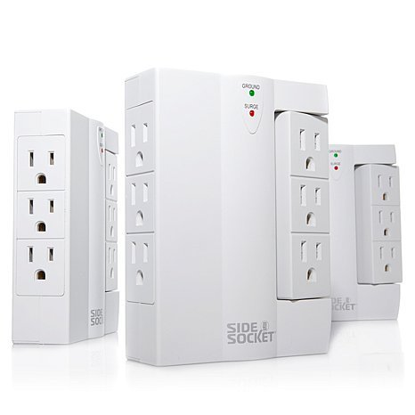 As Seen On TV! Side Socket Deluxe Swivel Outlet 3-pack with Surge (Reach Swivel)