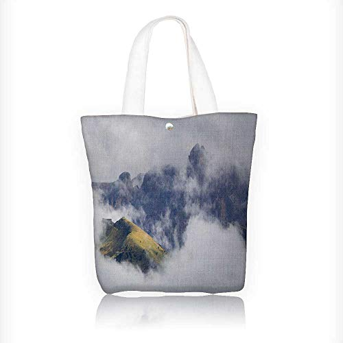 Ladies canvas tote bag fog in the alps
