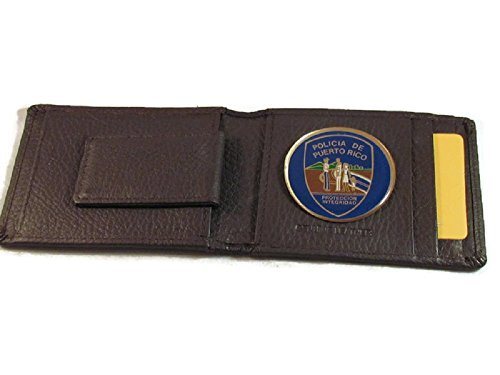 POLICE OF PUERTO RICO HIGH GRAIN BROWN LEATHER WALLET CARD HOLDER OUTSIDE ID INSIDE MONEY CLIP (Police Clip Money)