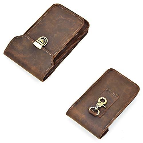 Bolsa Monedero Compartimiento al Piel de del Aire Retro Cintura Hombres Genuina Marrón Paquete para Libre OMMILA Broncearse marrón Gancho Bolsa Doble móvil teléfono de la Ocio Moda de Monedero vqHnX