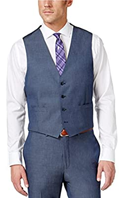 Calvin Klein Slim Fit Blue Solid Cotton-Wool Four Button New Men's Vest