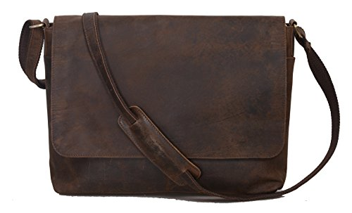 Leather Flap Bag - KomalC 15 Inch Flap Retro Buffalo Hunter Leather Laptop Messenger Bag Office Briefcase College Bag for Men and Women