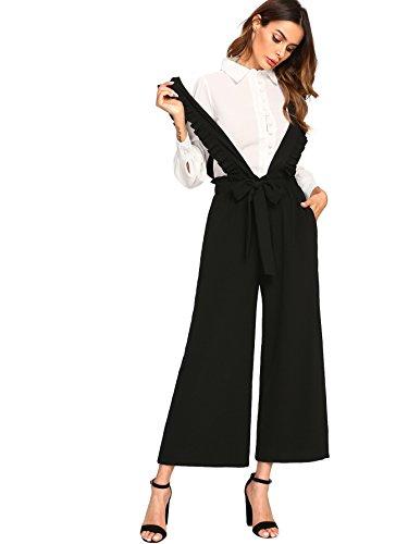 MakeMeChic Womens Tie Waist Wide Leg Culotte Palazzo Long Pants Ruffle Overalls