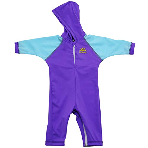 (Nozone Kailua Sun Protective Hooded Baby Swimsuit in Ultraviolet/Blue Bay, 6-12 mo.)