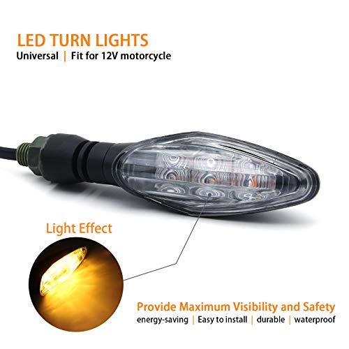 MFC PRO Universal Hi-quality LED Turn Signal Light for Kawasaki Ninja 650 650R Z800 ZX6R Honda MSX125 Grom125 Suzuki GSXR 600/750/1000 GS500F Yamaha YZR R1/R3/R6 (Clear) ()