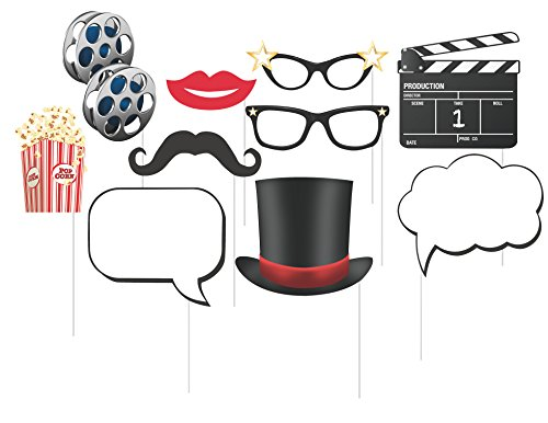 10 Assorted Photo Booth Props, Hollywood (Movie Party Decorations)
