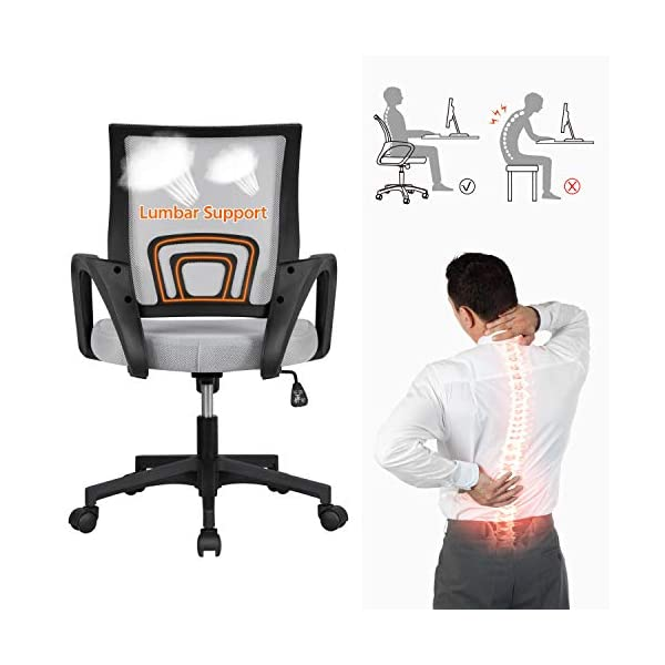 Yaheetech Chaise de Bureau Pivotante Ergonomique Réglable en Hauteur avec roulettes Siège et Base Plus Large Gris