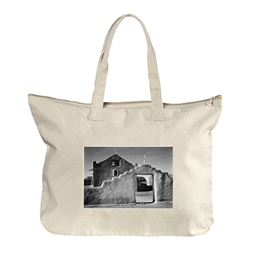 Church Taos Pueblo New Mexico 2 (Adams) Canvas Beach Zipper Tote Bag Tote by Style in Print