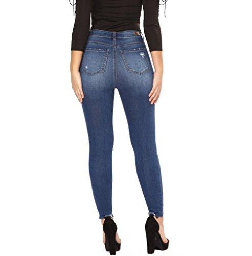 Rasgados Denim Lápiz Pantalones Jeans MYX Angustiados Flacos Causales Femeninos Darkblue TYwYOq