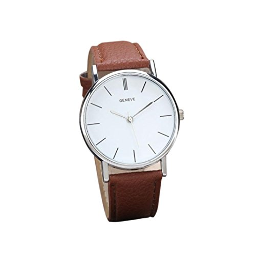 - START Women Elegant Leather White Dial Wrist Watch-Brown
