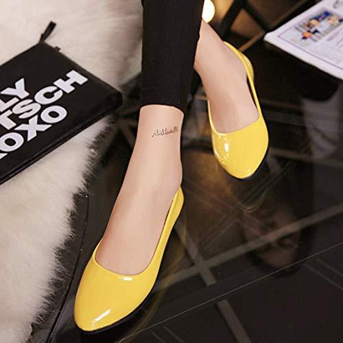Talons Femme Jaune Poli Plats Verni Bout Respirant Confortables Chaussures d'été Chaussures Chaussures Cuir Taille Femmes 36 Chaussures PU Mazur Pointu Couleur qUC80wW