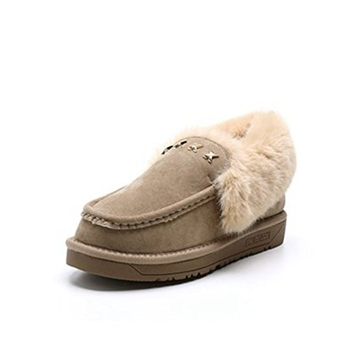 GIY Womens Suede Fur Lined Snow Ankle Boots Winter Warm Round Toe Flat Metal Slip On Fashion Snow Boot Khaki