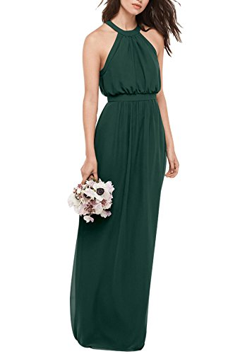 Beauty Bridal Bridesmaid Maxi Dresses Long For Women Formal Evening Party Prom Gown J39 (22W,Dark Green)