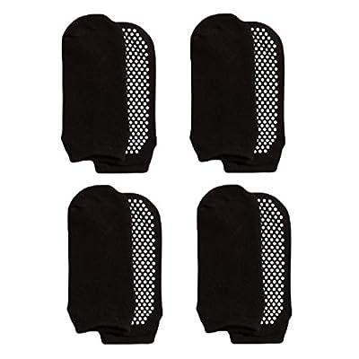 LIBRUONE Yoga Socks Non Slip Skid Pilates Barre Ballet 4 Pack Socks with Grips Cotton for Women