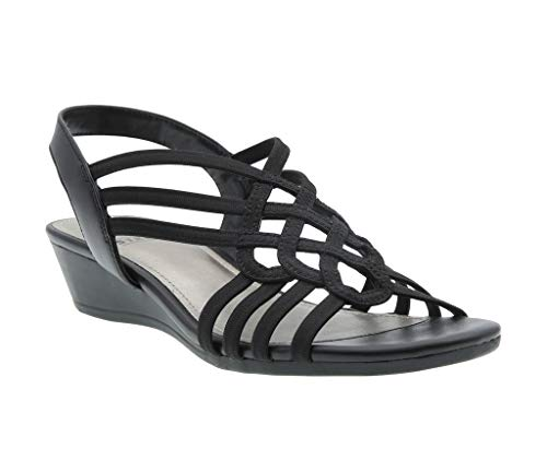 Impo Roma Stretch Wedge Sandal, Black Stretch Elastic/Calfeline, 8 B(M) US