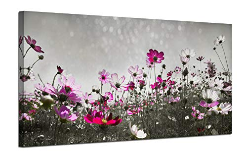 Canvas Wall Art Flower Colorful Painting Prints One Panel Large Size Landscape Picture, Grey Flash Sky Modern Nature Wildflowers Artwork Framed for Living Room Bedroom Kitchen Home Office Decorations