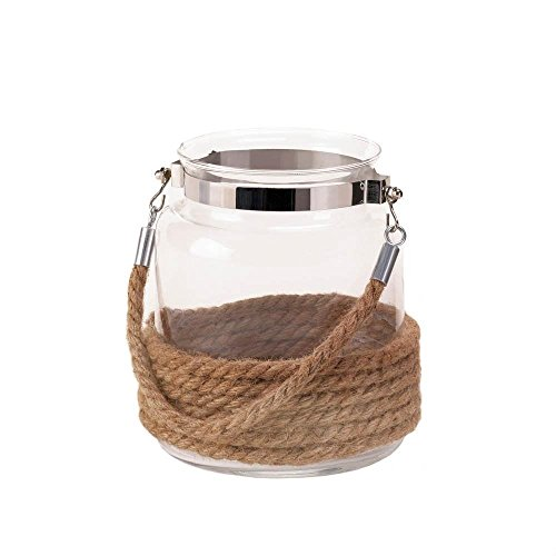Dockside Small Candle Lantern Decorative Glass Jar Rope Handle Nautical Decor (Dockside Electrical)