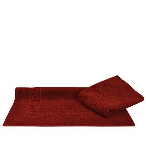 100% Turkish Cotton Luxury Hotel & Spa 25x39 Greek Key Design Bath Mat (2 Pack, Cranberry)