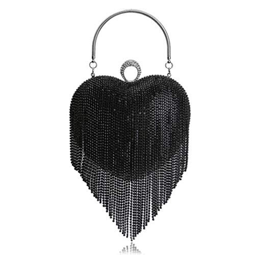 UMREN Women Luxury Heart Shape Tassel Evening Clutch Bag Rhinestones Wedding Party Purse Handbag