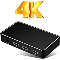 1x2 HDMI Splitter, UNOOE 4K 60Hz Ultra HD HDMI Input Splitter 1 In 2 Out Amplifier Adapter Box Video Audio Repeater 1080p 3D Support for HDTV PC Projector PS3 XBOX DVD and More (Black)