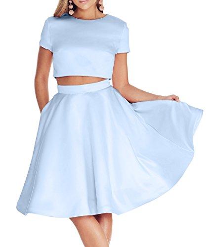 Tanzenkleider Brau A La Rock Satin Zwei Abendkleider teilig Cocktailkleider Mini Brautjungfernkleider Blau mia Himmel Partykleider Linie 55Orz