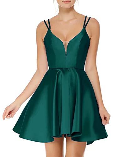 AiniDress Dark Prom Dresses Gown Green Straps Short Dresses Neck V Homecoming Gown Satin Sweetheart Cocktail Ball gnrW6gq