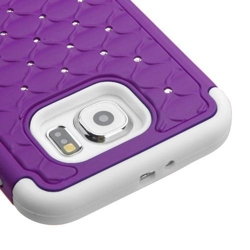 Galaxy S6 Case - Dazzel Bling Hybrid Armor Case Dual Layer Rubberized Protector Cover For Samsung Galaxy S6 - Dazzel Purple/White (Free Stylus)